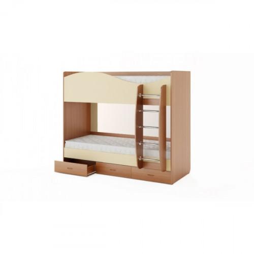 Кровать двухъярусная с ящиками (без матраца), Бук/Персик