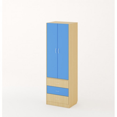 Шкаф, Дуб беленый/Синий
